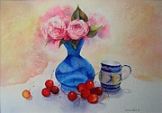 Beatrice Cloake - Watercolour roses and cherries