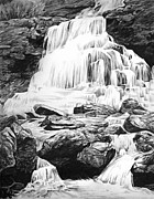 Charcoal Drawings Drawings Framed Prints - Waterfall Framed Print by Aaron Spong