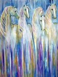 Contemporary Paintings - Waterfall Abstract Horses by Jennifer Morrison Godshalk