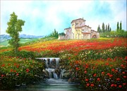 Sicily Paintings - Waterfall and Red Poppies by Luciano Torsi