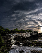 Motivational Photo Prints - Waterfall at Sunrise Print by Bob Orsillo
