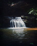National Painting Posters - Waterfall at Table Rock National Forest Poster by Erik Schutzman