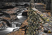 Stone Steps Prints - Waterfall Black and Color Print by Robert Harmon