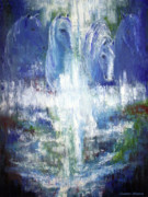 Abstract Horse Paintings - Waterfall Equine II by Jennifer Morrison Godshalk