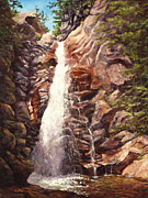 Falls Paintings - Waterfall Glen Ellis New Hampshire by Elaine Farmer