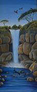 Hilton Mwakima Art - Waterfall by Hilton Mwakima