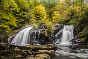 Fall River Scenes Prints - Waterfall in Autumn Print by Debra and Dave Vanderlaan
