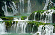 Detian Framed Prints - Waterfall in Green Framed Print by Charline Xia