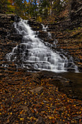 Autumn Foliage Prints - Waterfall In The Autumnal Equinox Print by Susan Candelario