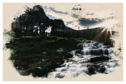 High Society Prints - Waterfall in the high mountain Print by MotionAge Art and Design - Ahmet Asar