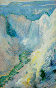 Yellowstone Paintings - Waterfall in Yellowstone by John Henry Twachtman