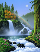 Waterfall Painting Posters - Waterfall Poster by Jerry LoFaro
