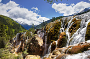 Travel China Posters - Waterfall landscape at Jiuzhaigou China Poster by Fototrav Print