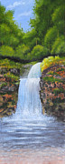 Tranquil Drawings Prints - Waterfall Print by Nirdesha Munasinghe