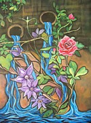 Vine Paintings - Waterfall Rose and Clematis by Cheryl Kennedy