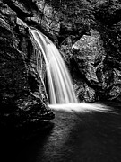 Water Fall Framed Prints - Waterfall Stowe Vermont Black and White Framed Print by Edward Fielding