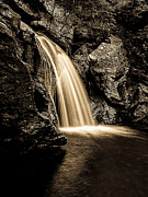 Water Fall Prints - Waterfall Stowe Vermont Sepia Tone Print by Edward Fielding
