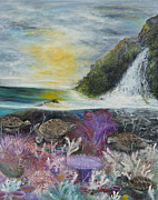 Sea Turtles Paintings - Waterfall turtle paradise by John Garland  Tyson