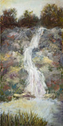 Vic Mastis Painting Metal Prints - Waterfall with Gold Leaf by Vic Mastis Metal Print by Vic  Mastis