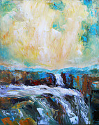 Becky Kim Artist Painting Metal Prints - Waterfalls 2 Metal Print by Becky Kim