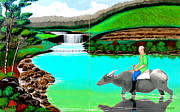 Cyril Maza Posters - Waterfalls and Man Riding a Carabao Poster by Cyril Maza