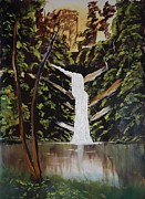 Waterfalls Paintings - Waterfalls in Deep forest by Jnana Finearts