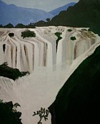 Waterfalls Paintings - Waterfalls by Pratyasha Nithin