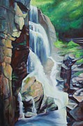 New York Painter Paintings - Waterfalls by Sheila Diemert