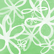 Featured Mixed Media Prints - Waterflowers- green and white Print by Linda Woods