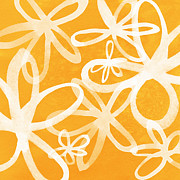 Featured Mixed Media Prints - Waterflowers- orange and white Print by Linda Woods