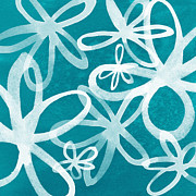 Abstract Flowers Prints - Waterflowers- teal and white Print by Linda Woods