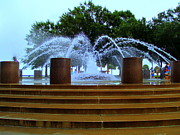 Water Feature Posters - Waterfront Fountain 1 Poster by Randall Weidner