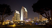 Hyatt Hotels Framed Prints - Waterfront Hotels at Night Framed Print by Joe Darin