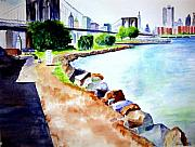 Brooklyn Bridge Painting Originals - Waterfront in DUMBO by Sandy Ryan