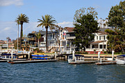Southern Homes Framed Prints - Waterfront Luxury Homes in Orange County California Framed Print by Paul Velgos