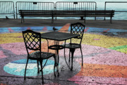 Empty Chairs Posters - Waterfront Seating Poster by Charline Xia