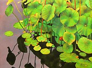 Waterlilies Tapestries Textiles Posters - Watergarden Poster by Robert Hooper