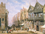Village Scene Paintings - Watergate Street looking towards Eastgate Chester by Louise J Rayner