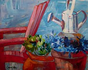 Suzanne Willis Metal Prints - Watering Can Metal Print by Suzanne Willis