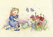 Children Day Drawings - Watering Girl by Tatiana Zubareva