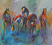 Wild Horses Painting Prints - Watering Hole II Print by Cher Devereaux
