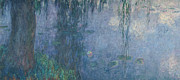 Nympheas Metal Prints - Waterlilies Morning with Weeping Willows Metal Print by Claude Monet
