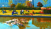 Hommage Prints - Waterlily Gardens At The Old Port Vieux Montreal Quebec Summer Scenes Carole Spandau Print by Carole Spandau