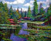 Waterlilies Tapestries Textiles Posters - Waterlily Lake Reflections Poster by David Lloyd Glover
