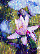 Moments Digital Art Posters - Waterlily Paradise Poster by Carol F Austin