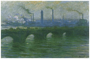 Waterloo Prints - Waterloo Bridge Overcast Weather Print by Claude Monet