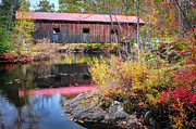 """autumn Foliage New England"" Prints - Waterloo Covered Bridge - Warner River  NH Print by Thomas Schoeller"