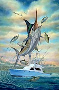 Marlin Azul Painting Posters - Waterman Poster by Terry Fox