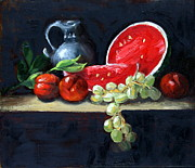 Fruit. Watermelon Paintings - Watermelon and Peaches by Gaye White