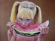 Watermelon Pastels Originals - Watermelon Bite by Colleen Gallo